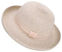 Womens Foldable UPF 50+ Structured Curved Wide Brim Beach Bucket Straw Sun Hat