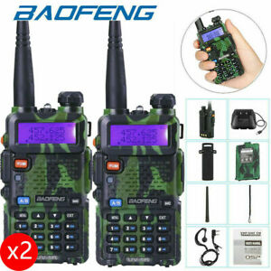 2x BAOFENG UV-5R UHF/VHF Walkie Talkie Long Range Two Way Ham Radio FM 5W 128CH