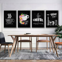 Frameless Canvas Wine Coffee Painting Bar Cafe Kitchen Wall Decor Poster Picture