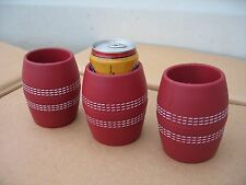 """""""NEW""""  3 x CRICKET BALL STYLE STUBBY , CAN , BOTTLE HOLDERS"""