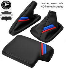 Cuir noir m rayures gear frein à main accoudoir couverture pour bmw E90 E91 E92 E93