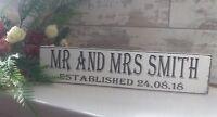 Wooden wedding established personalised  free standing sign shabby vintage