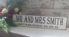 Wooden wedding established personalised  free standing sign shabby vintage