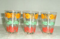 Vintage Set of 3 Juice Glasses Oranges Tomatoes