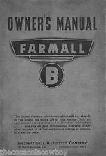 FARMALL B Operator's and Maintenance Manual INT-5435  04/01/1941