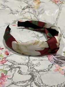 Vintage Style Red & Cream Floral Alice Band With A Knot. Floral Hair Accessory