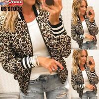 Womens Casual Zip Up Collar Bomber Jacket Leopard Winter Biker Coat Tops Outwear