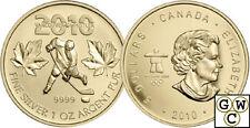 2010 Gold-Plated Olympic Hockey 1oz Silver Maple Leaf .9999 Fine *No Tax (12709)