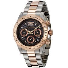 Invicta Men's Watch Speedway Quartz Chrono Black Dial Two Tone SS Bracelet 6932