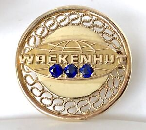 VTG 12k Gold Filled Genuine Sapphire Wackenhut Securty Safety Service Pin