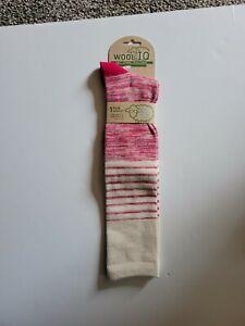 WOOL IQ Womens Socks Knee High Ribbed Welt Comfort Warm Red NWT A13
