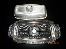 VINTAGE rodney kent BUTTER DISH W/ ALUMINUM TULIP TOP AND MATCHING GLASS BOTTOM