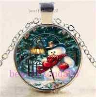 Christmas Snowman Cabochon Glass Tibet Silver Chain Pendant Necklace