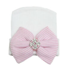 Baby Girls Infant Striped Soft Hat With Bow Pearl Pink Hospital Newborn Beanie