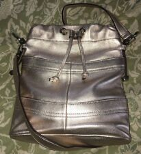 B. MAKOWSKY Metallic Blush Leather Drawstring Crossbody Purse Bag-MINT