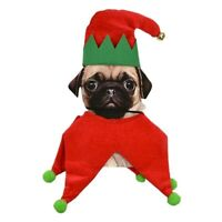 Pet Dog Cat Christmas Costume Elf Suit Puppy Hat Xmas Holiday Clothes