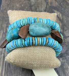 Barse Triple Stretch Bracelets-Turquoise & Ireng Wood- NWT