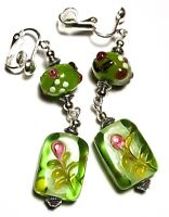 Long Silver Green & Pink Clip On Earrings Glass Bead Drop Dangle Artisan Boho