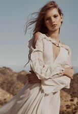 NEW Free People Huxley Maxi Dress Size XS White/Gold Ruffle Cold Shoulder