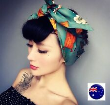 NEW Women Lady Green 80' 70' Retro Boho Wide Tie up Bow Hair Headband Wrap scarf