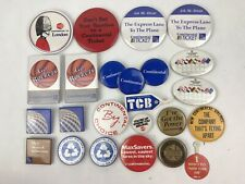 "Vintage Lot of 24 Continental Airlines Pin Pinback Buttons Various Sizes 1"" 3"""
