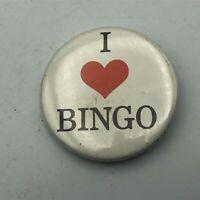 "1980's I Heart Love BINGO 1-3/4"" Button Pin Pinback Vintage  S2"