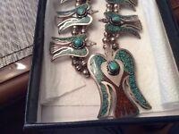 Antique Silver Squassh Blossom Necklace Signed