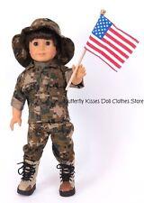 Army Camo Military Uniform + American Flag 18 in American Girl  Boy Doll Clothes