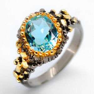925 Sterling Silver Ring Natural Blue Topaz Vintage 14k Yellow Gold Plated/RVS01