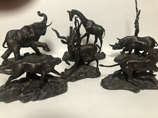 Franklin Mint Bronze Set Of African Animals Signed Pollani