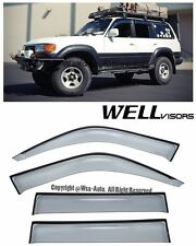 For 91-97 LandCruiser WellVisors Side Window Visors w/ Black Trim Rain Guard