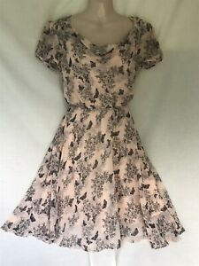 FROM ORSAY PRETTY PEACH BUTTERFLY SUMMER DRESS APPROX SIZE 10