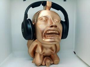 """Golden Idol Headphone Stand! """"Golden Head,"""" Headset Holder Rack, Hanger Bust."""