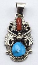 Navajo Handmade Sterling Silver Multi-Color Pendant - Herbert Begaye