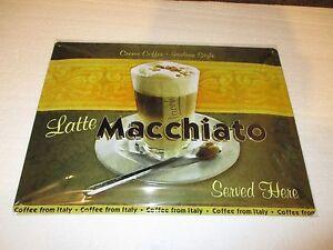 Latte Macchiato Coffee Embossed Tin Sign
