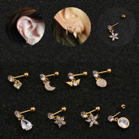 Cz Cartilage Stud Helix Tragus Earring Stainless Steel Ear Piercing Jewelry Chic