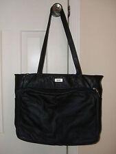 "BILL BLASS Women's Black Genuine Soft Leather Purse Handbag Tote 18"" x 12"" x 5"""