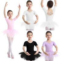 Girls Ballet Skate Dress Dance Gymnastics Leotards Tutu Skirts Costume Dancewear