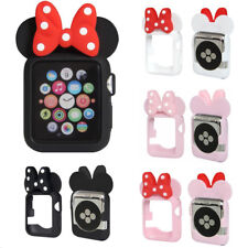 Cute Cartoon Lovely Minnie Mouse Ear Tie Soft Silicone Case fr Apple Watch Cover