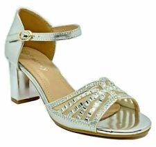 Smartty H46-511 Women's Silver Pageant Dress Evening & Party Shoes size 9
