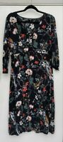 BNWOT Rrp £59 New Warehouse Black Floral Bird Patterned Midi Tea Dress Size 14