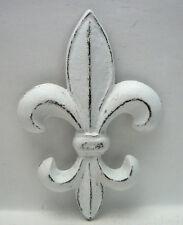 Fleur de lis Cast Iron Distressed Bright White Shabby Chic Wall Decor Paris FDL