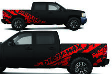 Vinyl Decal Wrap Kit for Chevy Silverado 2008-2013 DIRTYMAX SHRED Crew Cab - Red