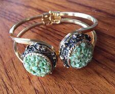 Designer Vintage Tumbled Jade Stone Chip  Gold Tone  Cuff Bracelet 70s