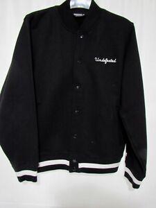 Undefeated 5 Strike Varsity Jacket Snap Button Cotton Black Men's size M