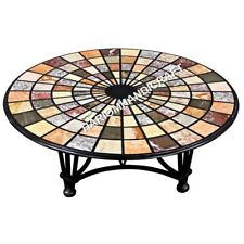 "36"" Marble Table Round Dining Top HandCrafted Mosaic Inlaid Home Decor E628(1)"