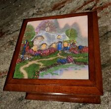 Thomas Kinkade Everett's Cottage Wood Jewelry Box With 3 Dimensional Picture