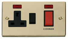 Polished Brass Cooker Switch and 13A Socket  | Black Insert | Click VPBR205BK