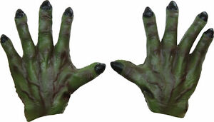 ADULT GREEN WITCH MONSTER LATEX HANDS GLOVES COSTUME ACCESSORY TB25354