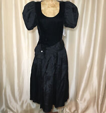 Vtg Nwt Roberta California Dress Size 7 Black Velvet Satin Cupcake 1990